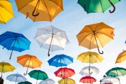 Assorted-color Straight Umbrella Hanging on Black Wire